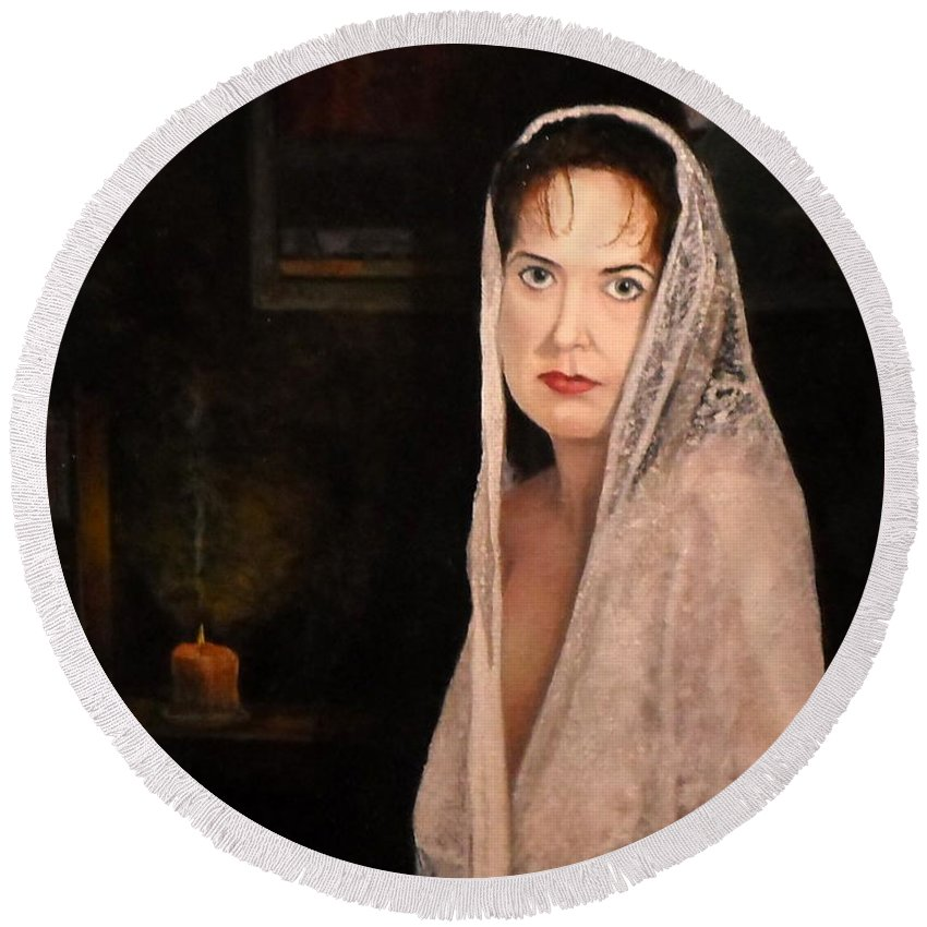 Portrait Round Beach Towel featuring the painting Lady In Lace Mantilla by Michael John Cavanagh