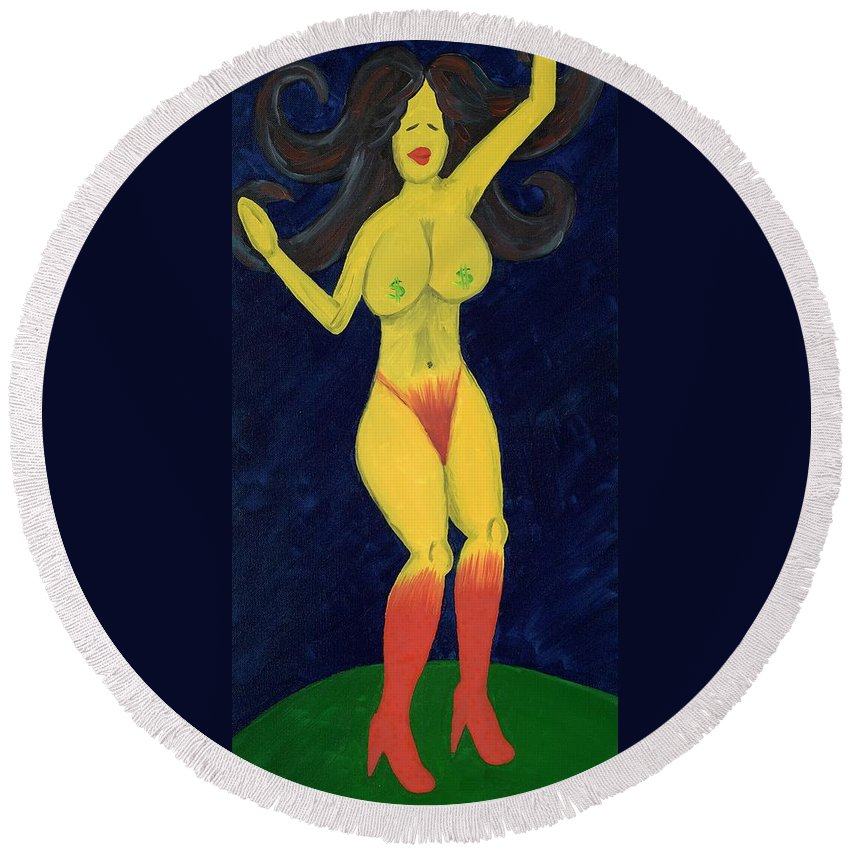 Dancer Round Beach Towel featuring the painting Lady In Red by Salvadore Delvisco