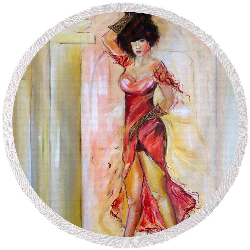 Contemporary Art Round Beach Towel featuring the painting Lady In Red by Silvana Abel