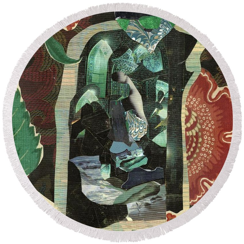 Lady In The Green Mirror - A Mixed Media Art Collage Round Beach Towel featuring the mixed media Lady In The Green Mirror by Patsy Stanley