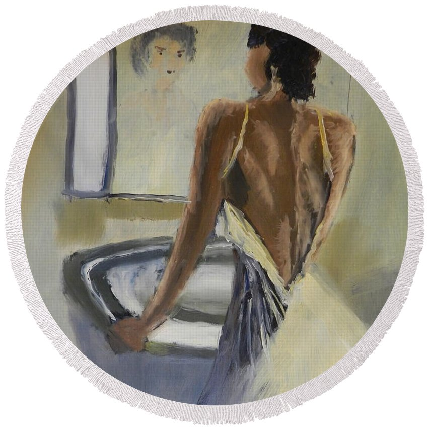 Impressionism Round Beach Towel featuring the painting Lady In The Mirror by Pamela Meredith