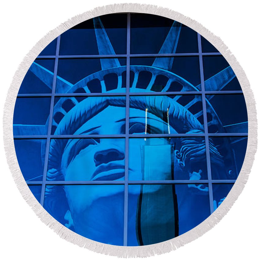 Nevada Round Beach Towel featuring the photograph Lady Liberty by Angus Hooper Iii