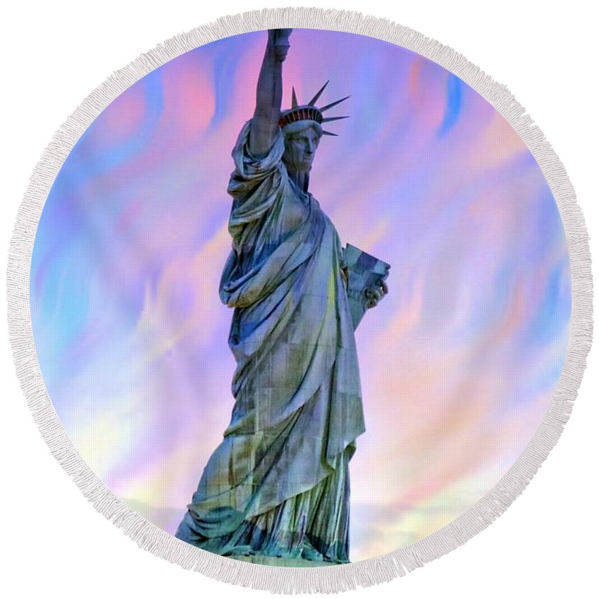 Lady Liberty Round Beach Towel featuring the photograph Lady Liberty Blues by Alice Gipson