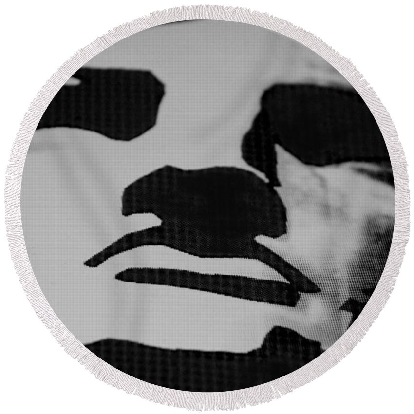 Statue Of Liberty Round Beach Towel featuring the photograph Lady Liberty In Black And White by Rob Hans