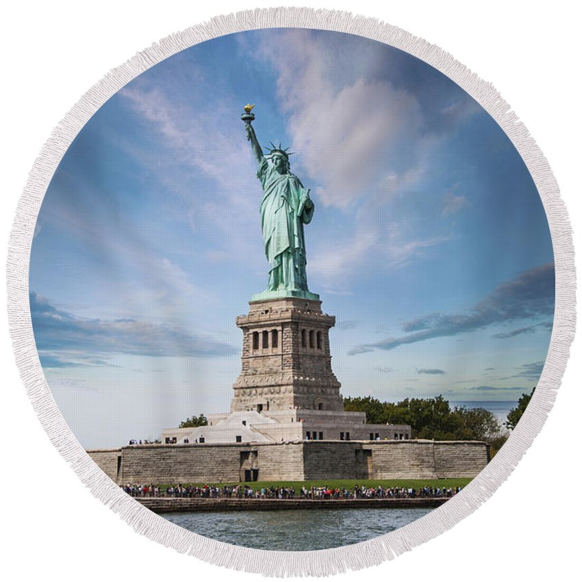 America Round Beach Towel featuring the photograph Lady Liberty by Juli Scalzi