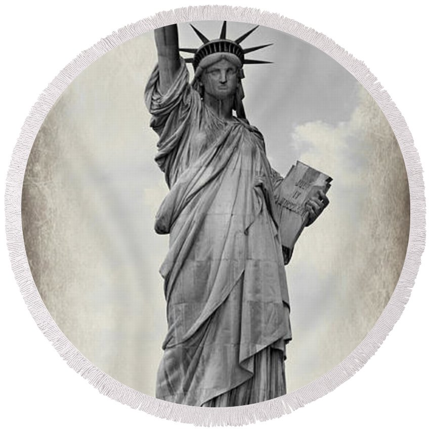 Statue Of Liberty Round Beach Towel featuring the photograph Lady Liberty No 6 by Stephen Stookey
