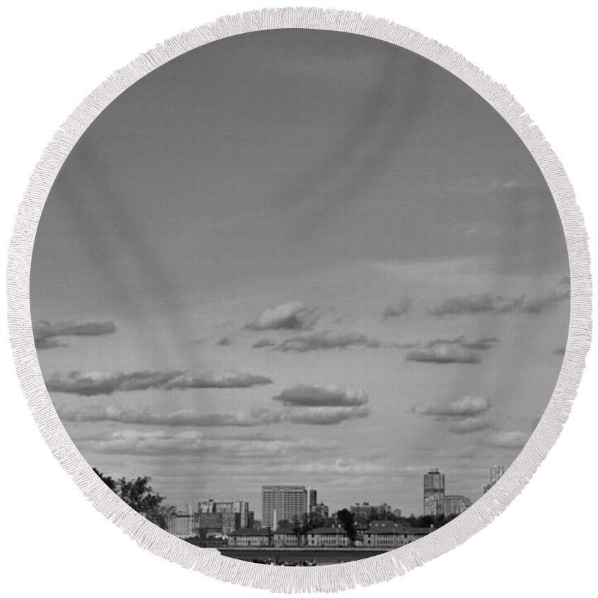 Statue Of Liberty Round Beach Towel featuring the photograph Lady Liberty Watching Over New York City by Dan Sproul