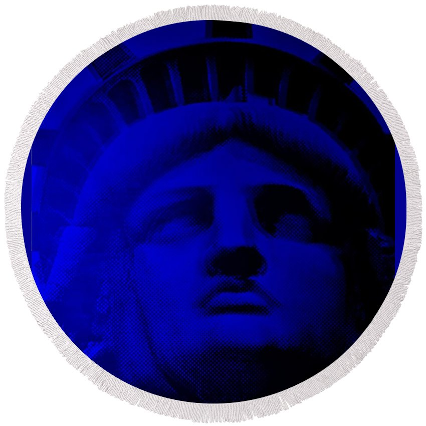 Statue Of Liberty Round Beach Towel featuring the photograph Lady Libery In Blue by Rob Hans