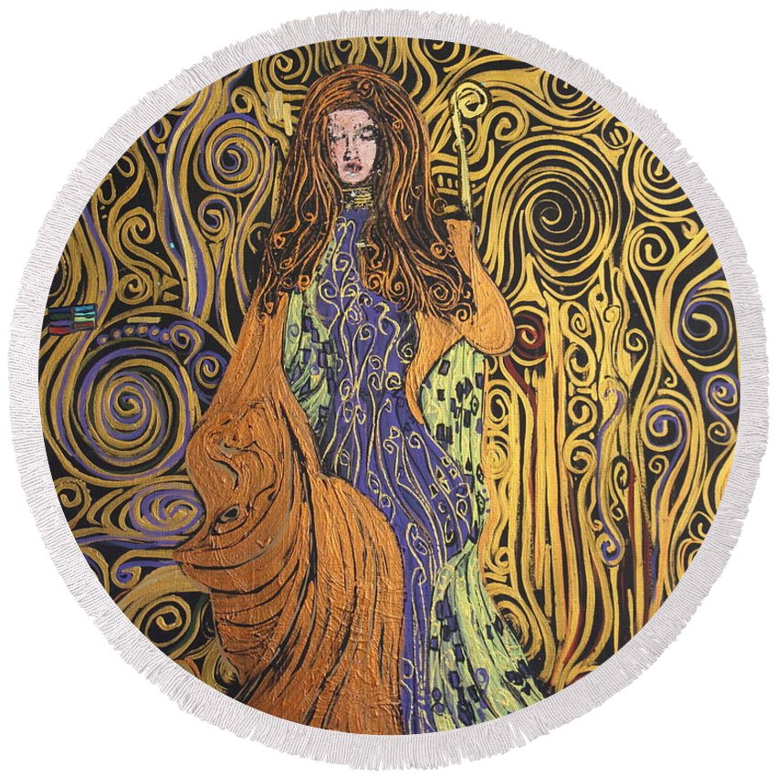 Impressionism Round Beach Towel featuring the painting Lady Of Swirl by Stefan Duncan