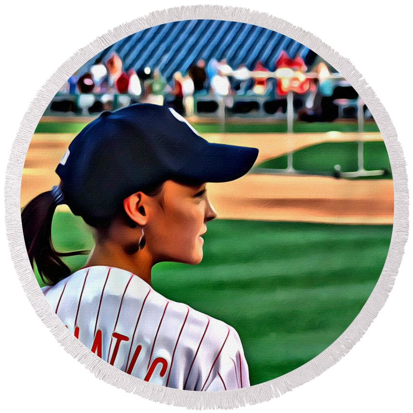 Phanatic Philly Lady Baseball Portrait Alicegipsonphotographs Round Beach Towel featuring the photograph Lady Phanatic by Alice Gipson