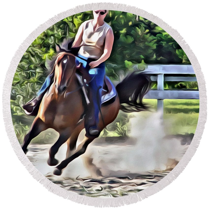 Horse Lady Cantering Running Galloping Arena Round Beach Towel featuring the photograph Lady Riding by Alice Gipson