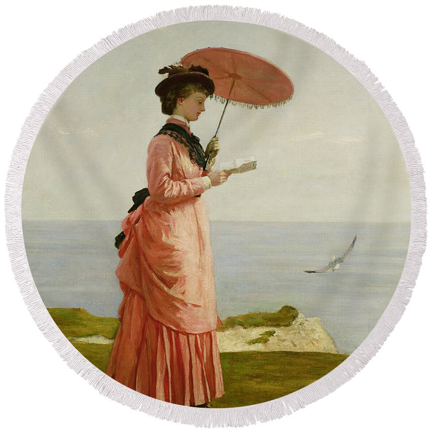 Bustle Round Beach Towel featuring the painting Lady Tennyson On Afton Downs by Valentine Cameron Prinsep