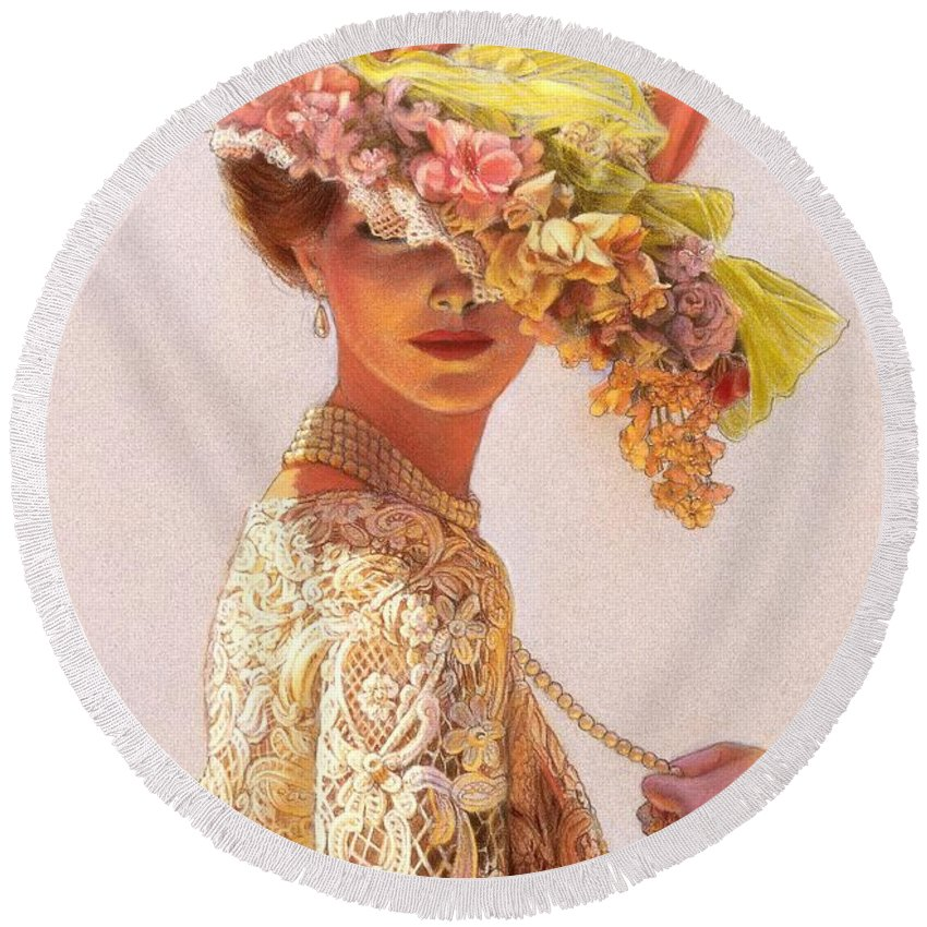 Portrait Round Beach Towel featuring the painting Lady Victoria Victorian Elegance by Sue Halstenberg