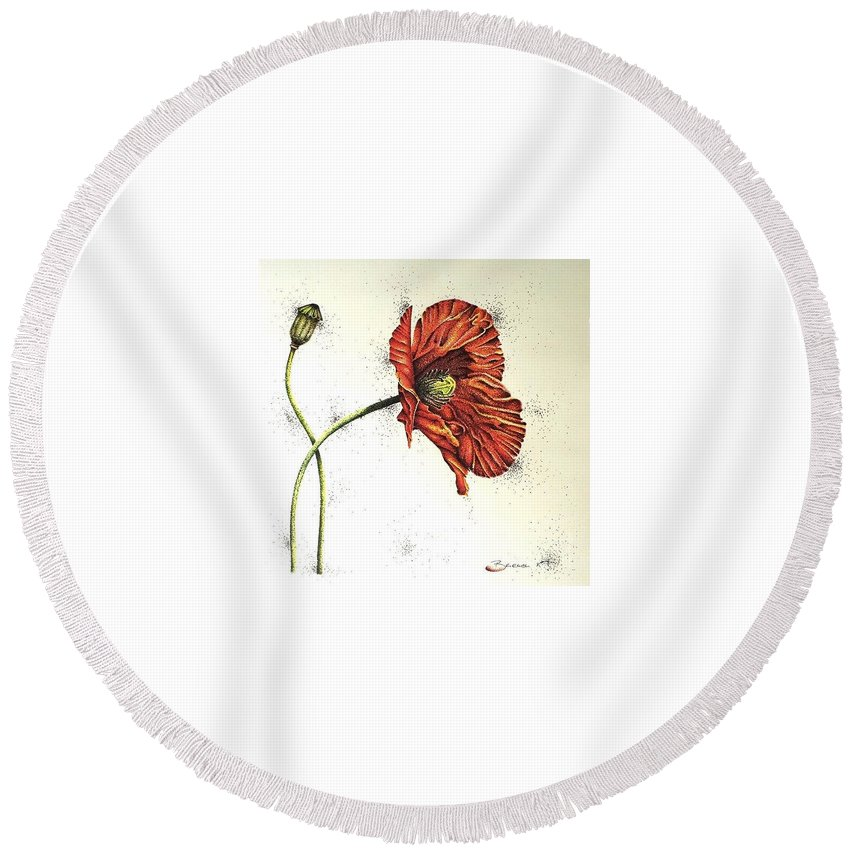 Poppies Round Beach Towel featuring the drawing Lady Yee by Katharina Filus