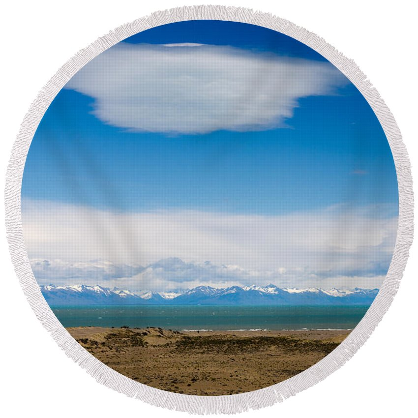 Lago Argentino Round Beach Towel featuring the photograph Lago Argentino In Patagonia by Ralf Broskvar