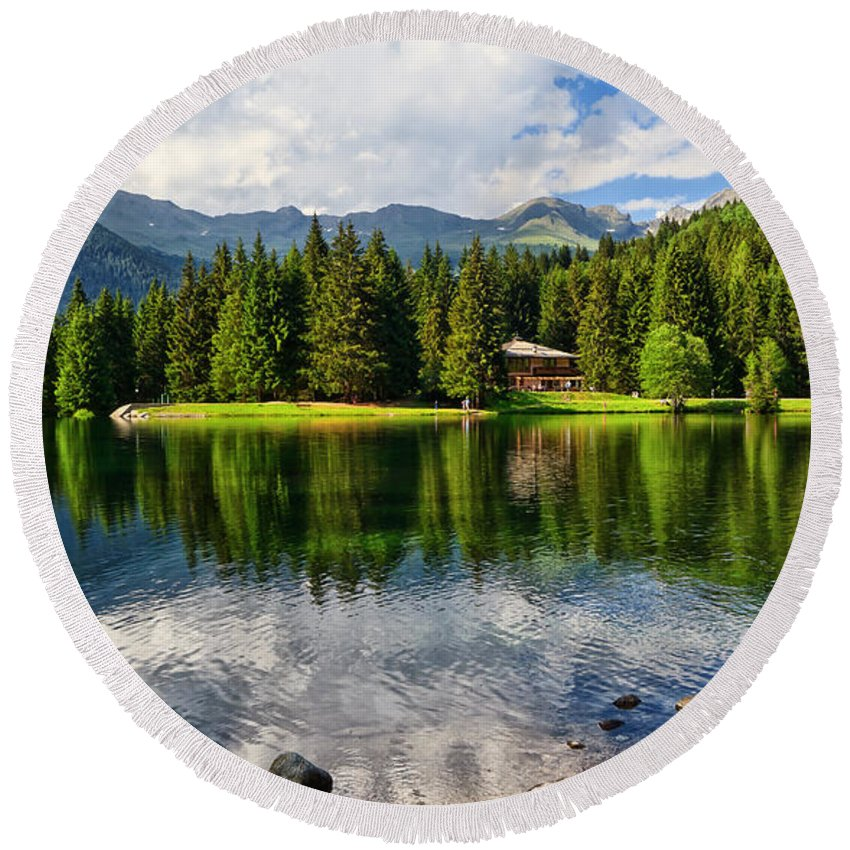 Alpine Round Beach Towel featuring the photograph Lago Dei Caprioli - Roe Deer Lake by Antonio Scarpi