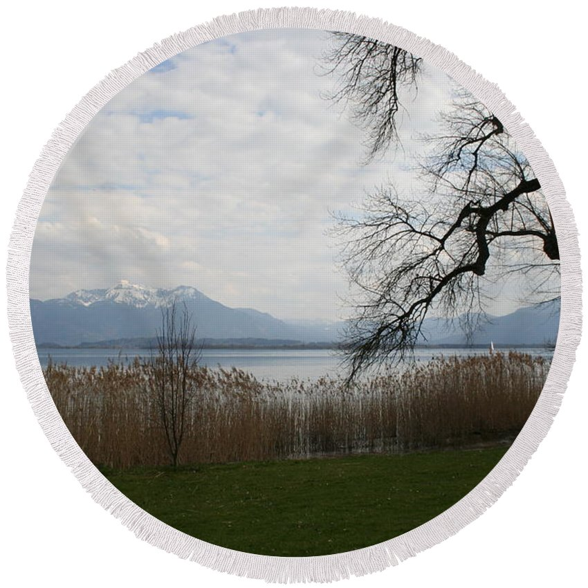 Lake Round Beach Towel featuring the photograph Lake And Mountains by Christiane Schulze Art And Photography