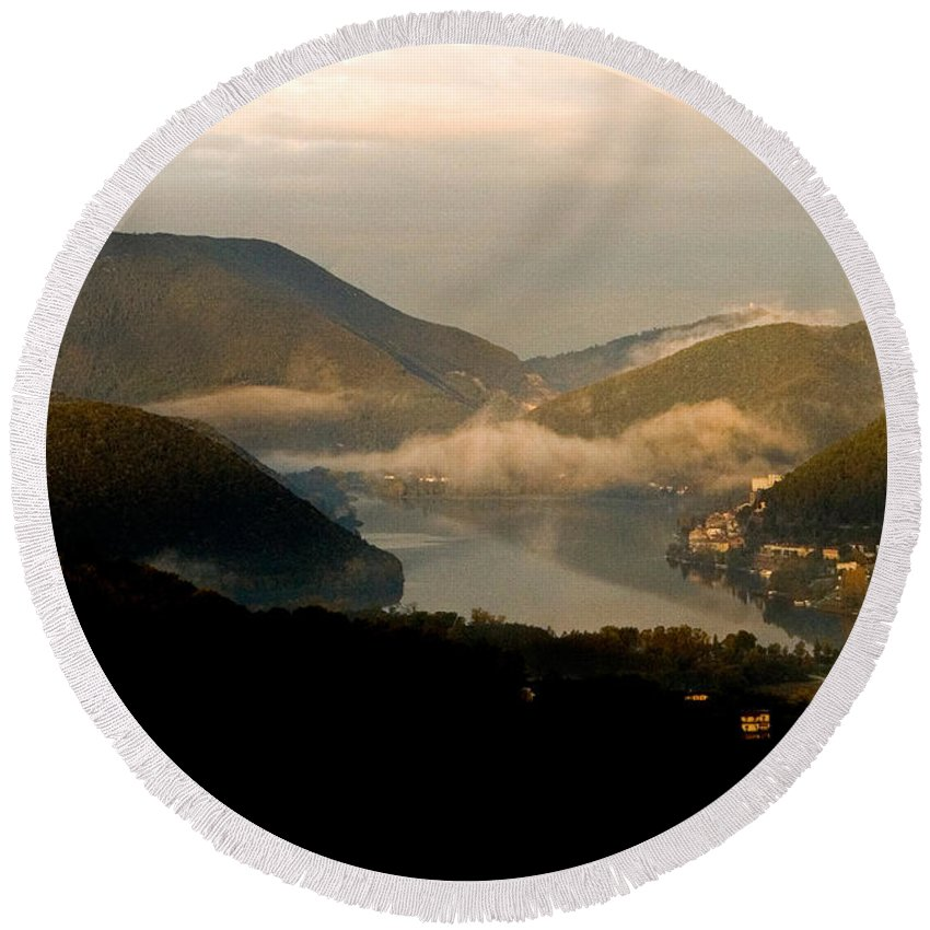 Lake Round Beach Towel featuring the photograph Lake And Town, Umbria, Italy by Tim Holt
