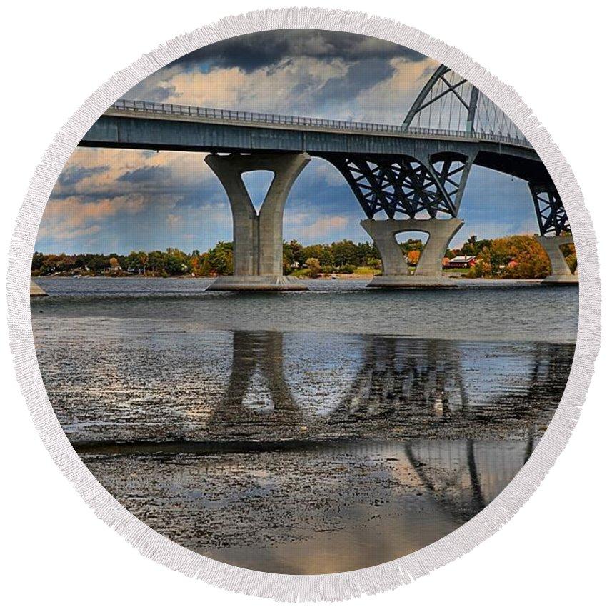 Arch Bridge Round Beach Towel featuring the photograph Lake Champlain New Bridge by Adam Jewell