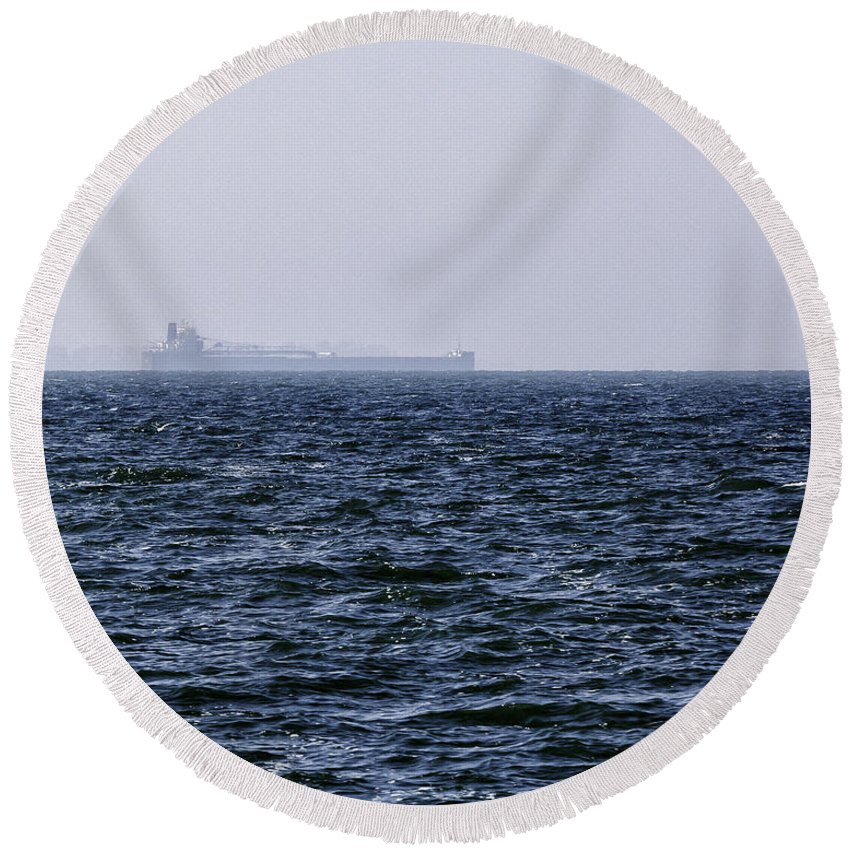 Big Round Beach Towel featuring the photograph Lake Erie Cargo Ship by Jack R Perry