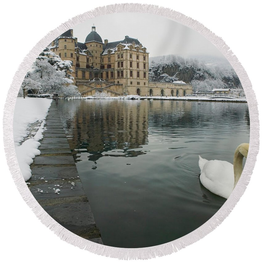 Photography Round Beach Towel featuring the photograph Lake In Front Of A Chateau, Chateau De by Panoramic Images