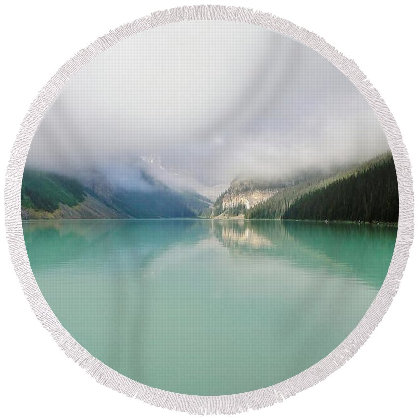 Lake Louise Round Beach Towel featuring the photograph Lake Louise As The Morning Mist Rises 1 by Mo Barton
