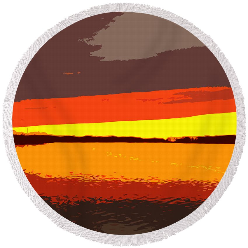 Sunset Round Beach Towel featuring the photograph Lake Macatawa Sunset by Michelle Calkins