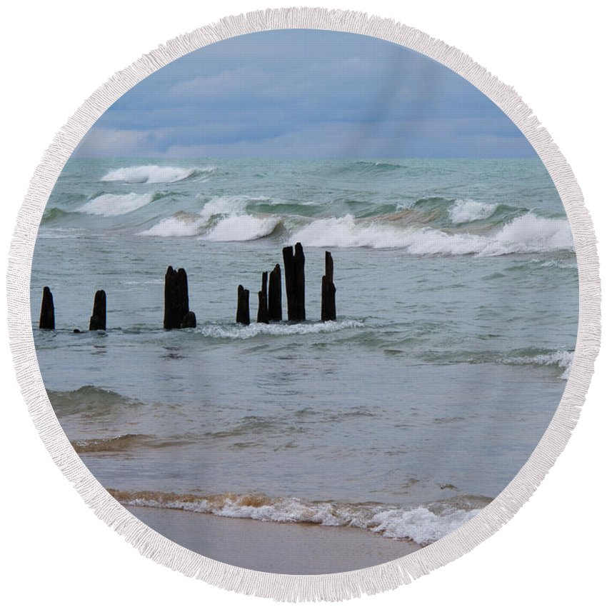 Waves Round Beach Towel featuring the photograph Lake Michigan Green by Ann Horn