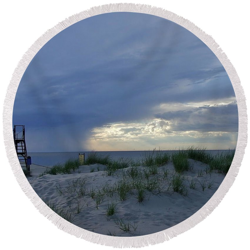 Storm Round Beach Towel featuring the photograph Lake Michigan Sky by Susan Wyman