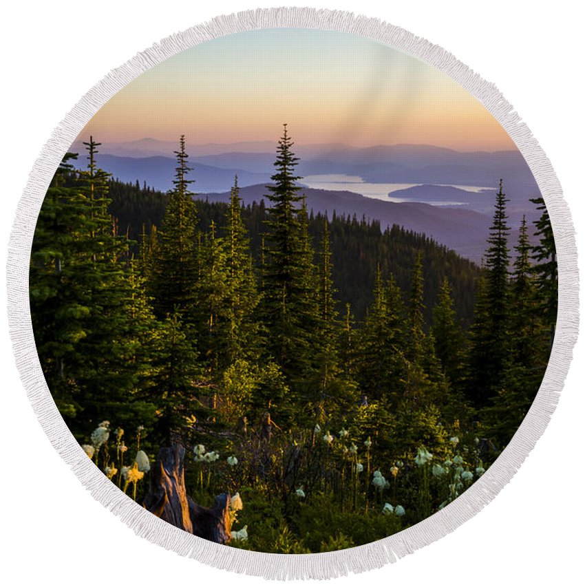 Landscape Round Beach Towel featuring the photograph 140701a-042 Lake Pend Oreille From The Cabinets by Albert Seger