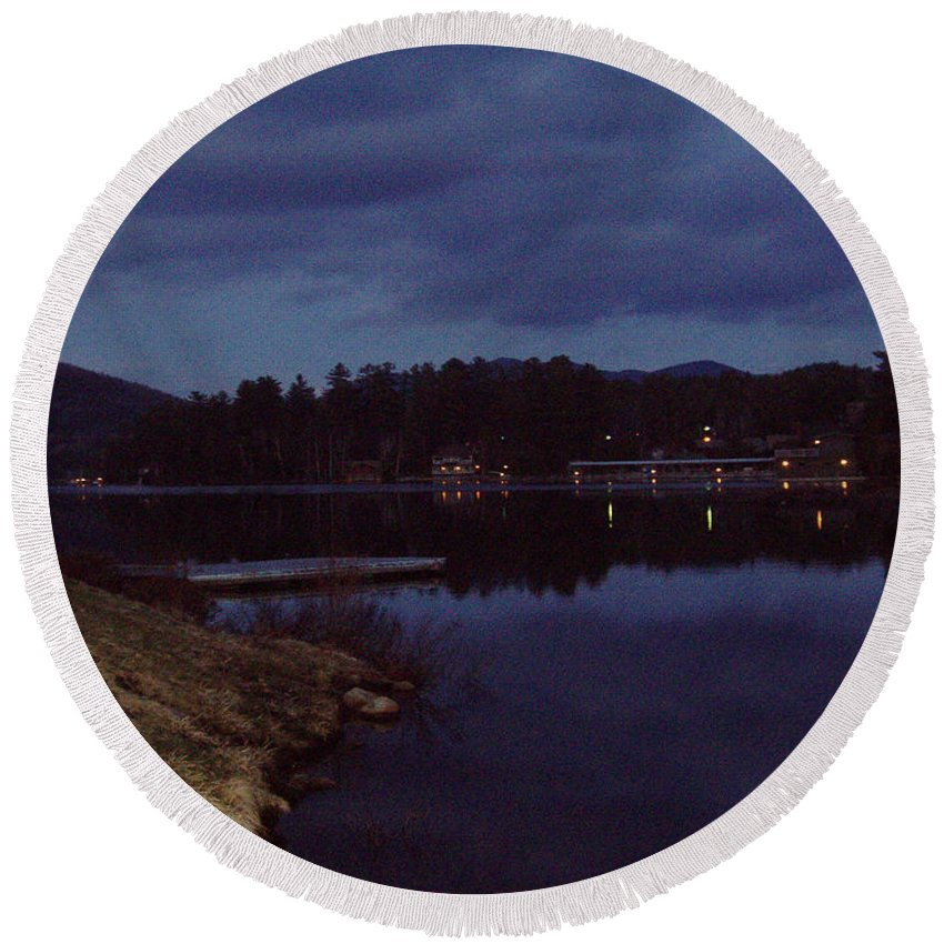 Lake Placid At Night Round Beach Towel featuring the photograph Lake Placid At Night by John Telfer
