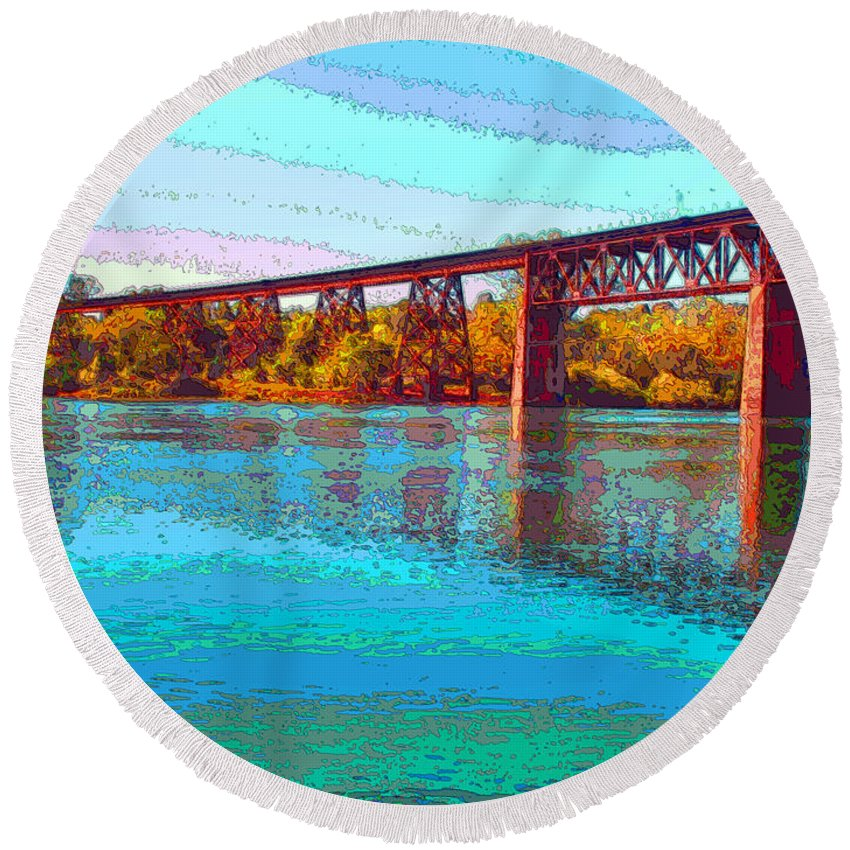 Redding Round Beach Towel featuring the photograph Lake Redding Ca Digital Painting by Joyce Dickens