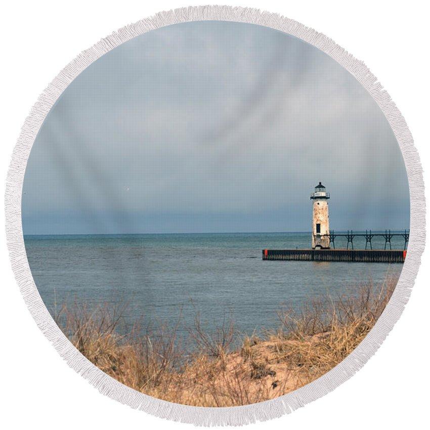 Manistee Round Beach Towel featuring the photograph Lake Storm by Linda Kerkau