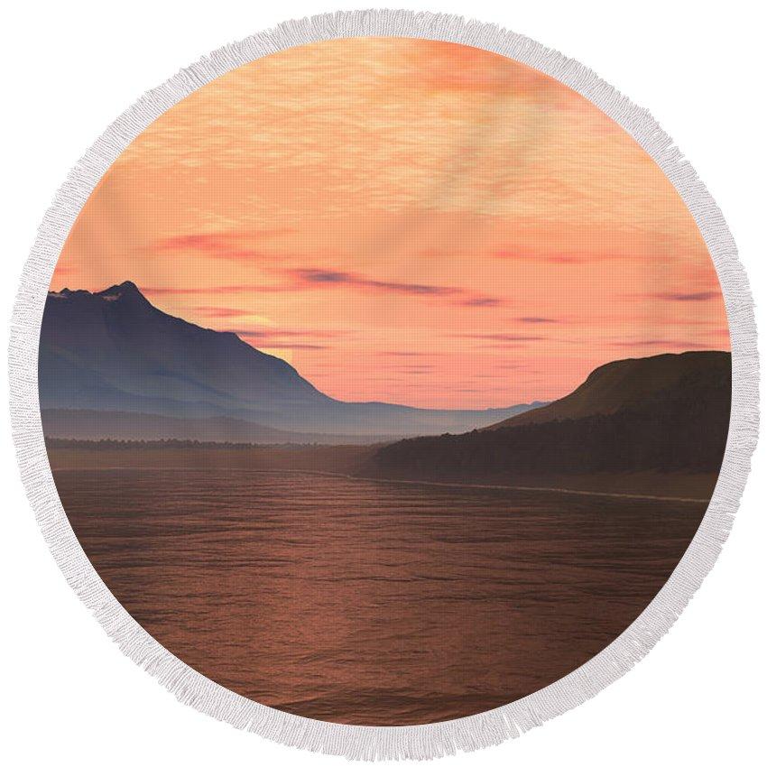 Lake Round Beach Towel featuring the digital art Lake Sunset 1 by Judi Suni Hall