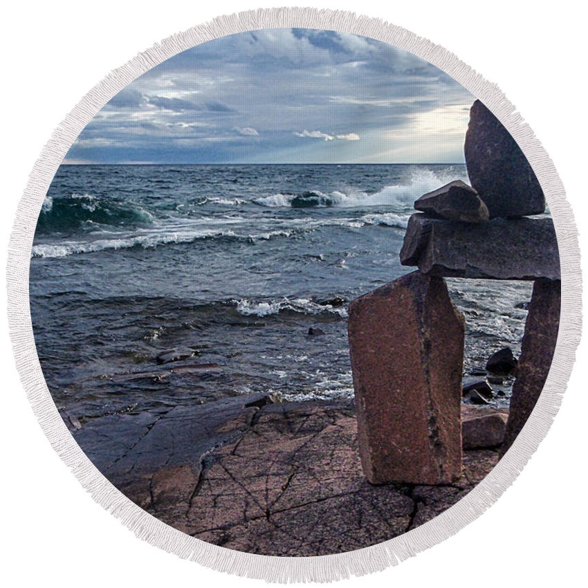 Shore Round Beach Towel featuring the photograph Show Me The Way - Lake Superior Rock Stack by Patti Deters