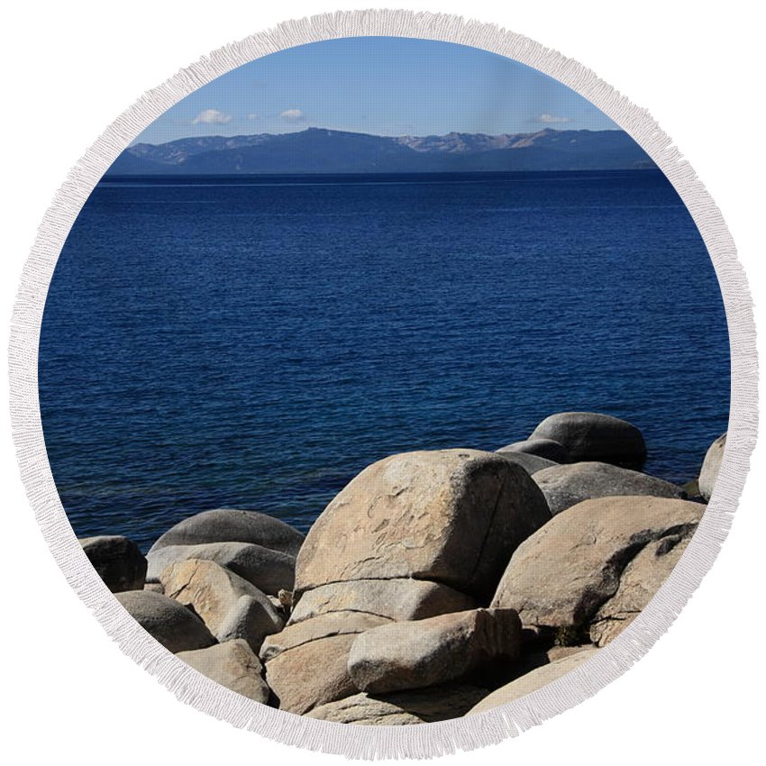Art Round Beach Towel featuring the photograph Lake Tahoe by Frank Romeo