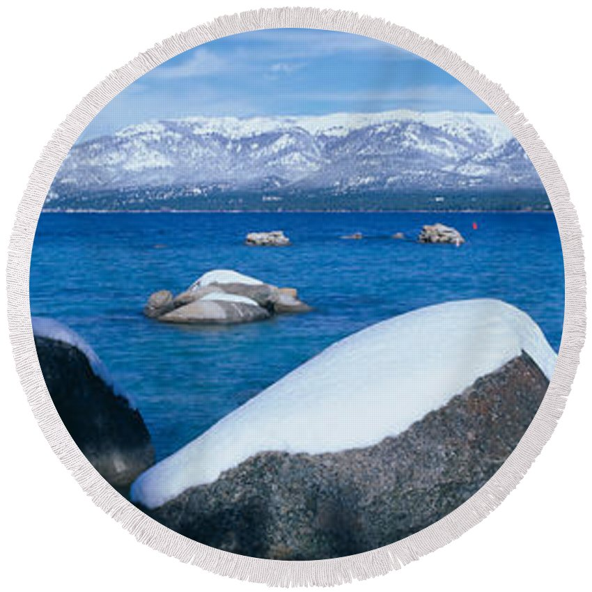 Photography Round Beach Towel featuring the photograph Lake Tahoe In Winter, California by Panoramic Images