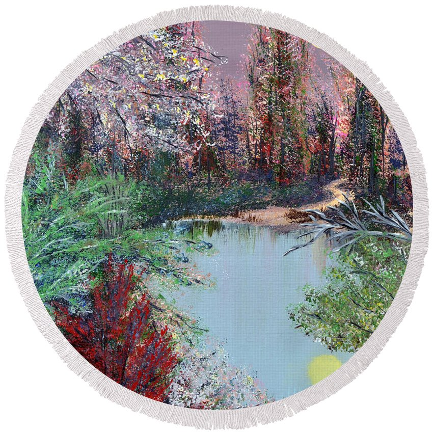 Lake Round Beach Towel featuring the painting Lake Tranquility by Alys Caviness-Gober