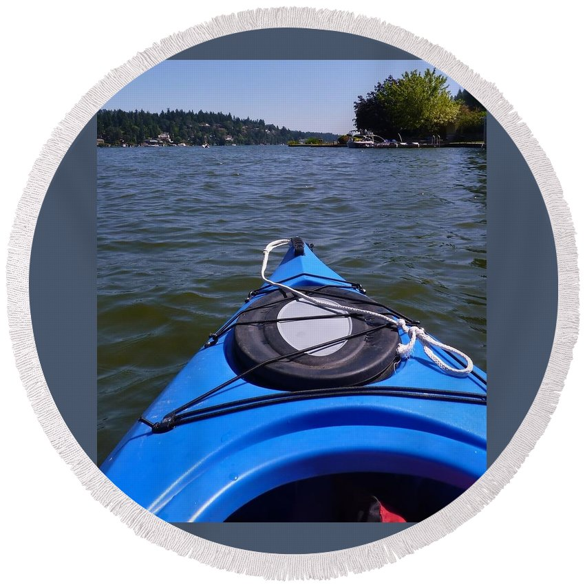Kayaking On The Lake Round Beach Towel featuring the photograph Lake View From Kayak by Susan Garren
