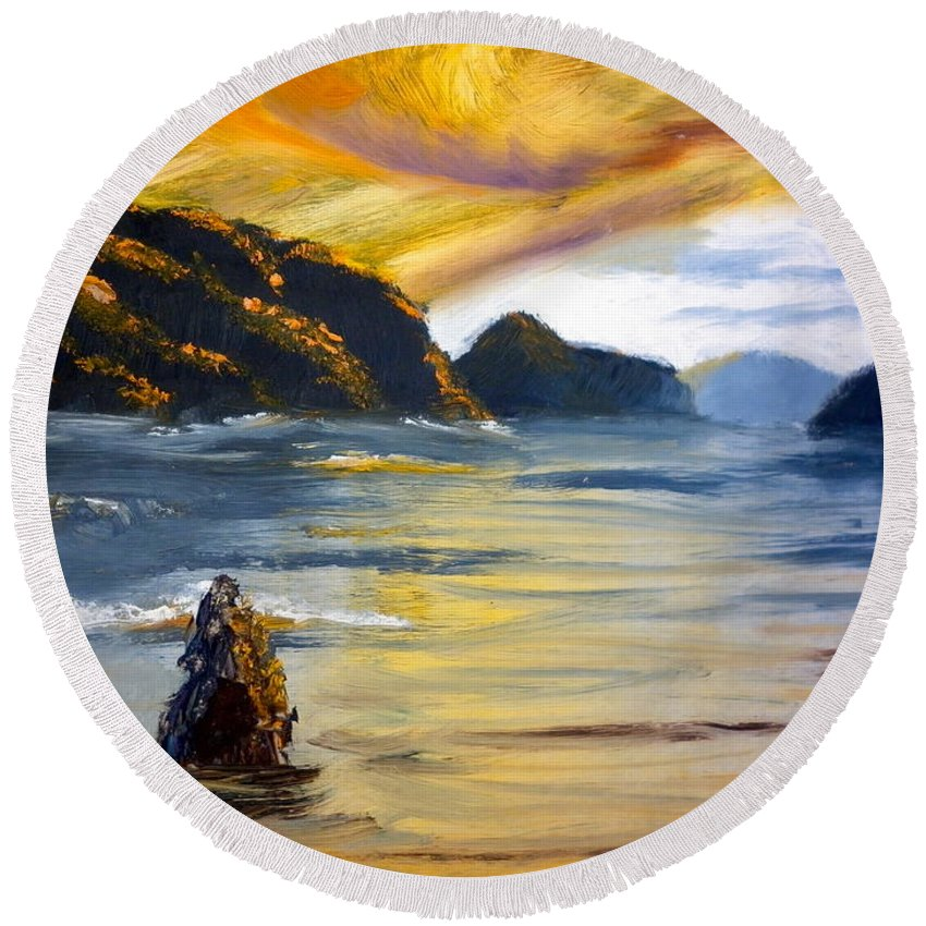 Nature Round Beach Towel featuring the painting Lake Wahatipu Queenstown Nz by Pamela Meredith