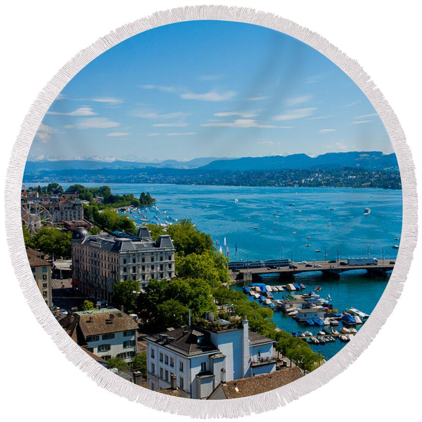 Switzerland Round Beach Towel featuring the photograph Lake Zurich by Anthony Doudt
