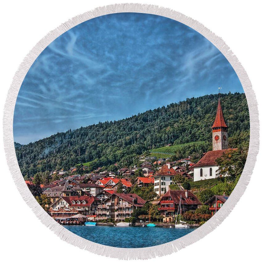 Switzerland Round Beach Towel featuring the photograph Lakefront Provincial Town by Hanny Heim