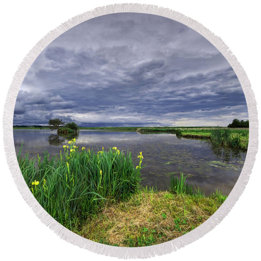 Reflection Round Beach Towel featuring the photograph Lakeside by Ivan Slosar