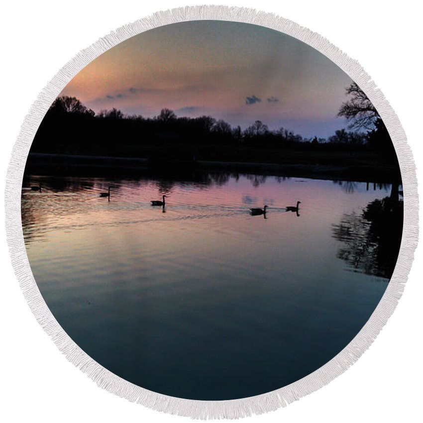 Landscape Round Beach Towel featuring the photograph Lakeside Sunset Reflections by Peggy Franz