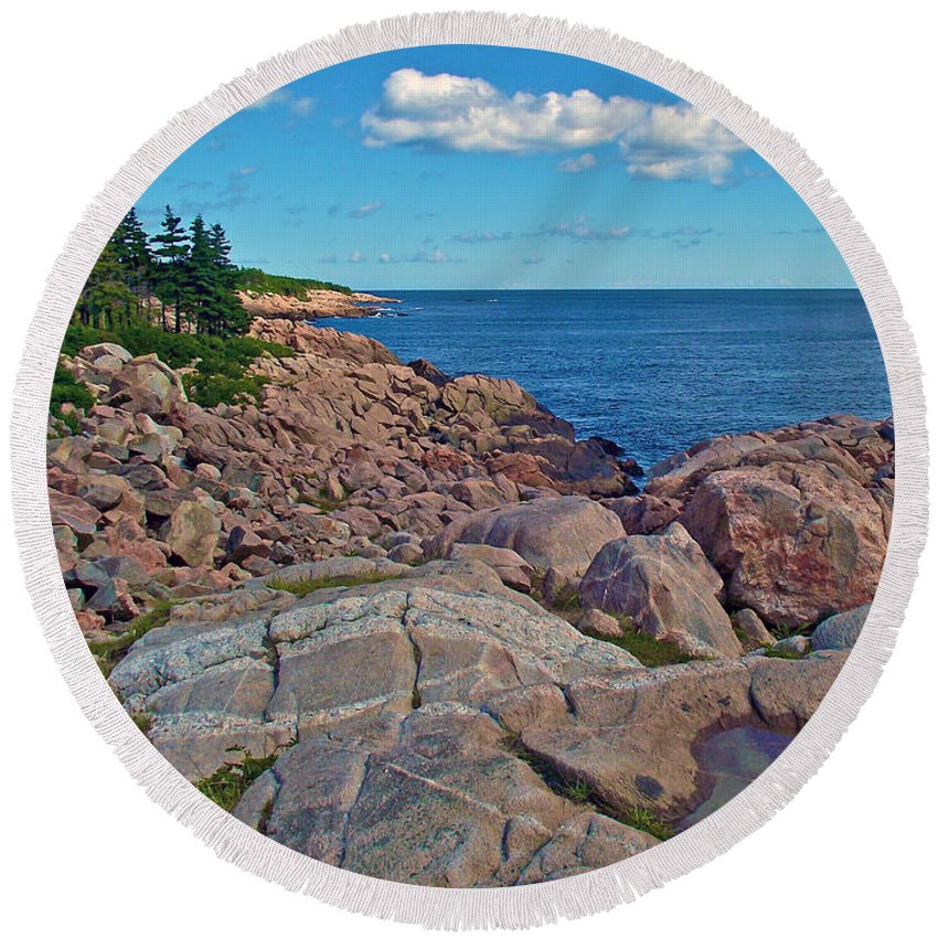 Lakies Head In Cape Breton Highlands Np Round Beach Towel featuring the photograph Lakies Head In Cape Breton Highlands Np-ns by Ruth Hager