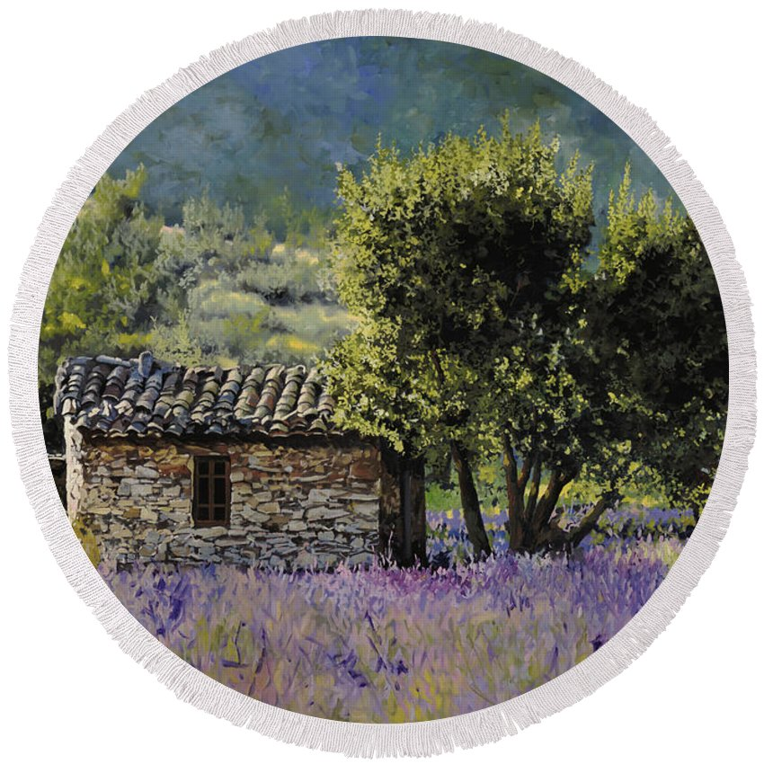 Lavender Round Beach Towel featuring the painting Lala Vanda by Guido Borelli