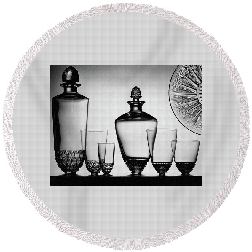 Home Accessories Round Beach Towel featuring the photograph Lalique Glassware by The 3
