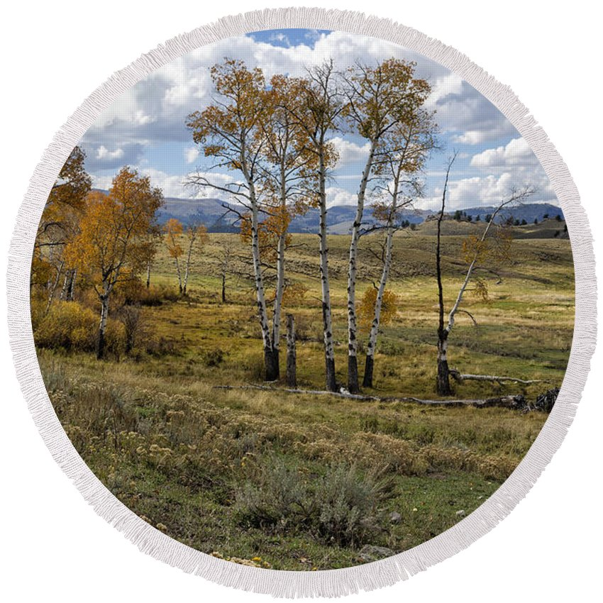 Lamar Valley Round Beach Towel featuring the photograph Lamar Valley In The Fall - Yellowstone by Belinda Greb