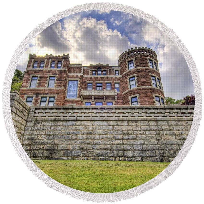 Castle Round Beach Towel featuring the photograph Lambert Castle by Anthony Sacco