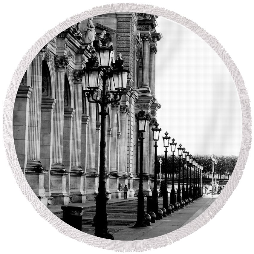Paris Round Beach Towel featuring the photograph Lamp Post All Lined Up In Order Of Height by Richard Rosenshein